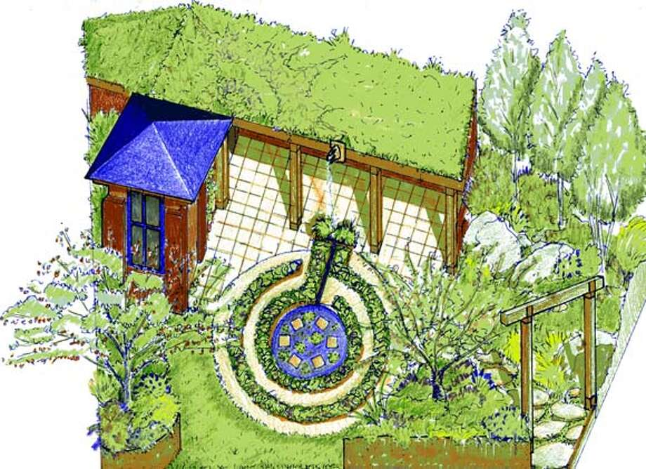 The Growing in Circles garden, designed by Susan Wyche with a living roof by Paul Kephart, will be shown at the San Francisco Flower & Garden Show at the Cow Palace Wednesday through March 21.
