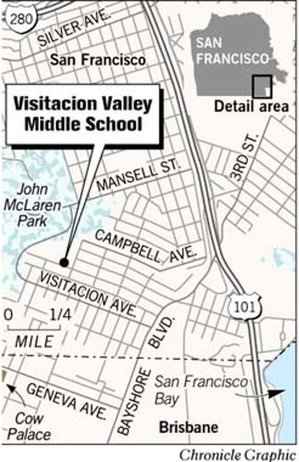Visitacion Valley Middle School. Chronicle Graphic Photo: Joe Shoulak