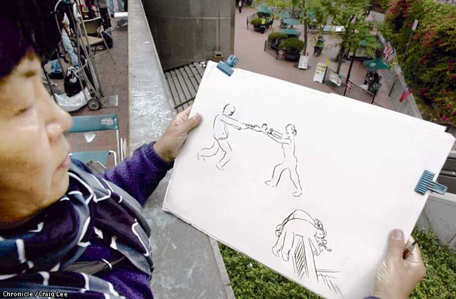 Photo of street artist, Catherine Zhang, at Powell and Market streets. She witnessed a man attempting to throw a baby and it's mother over the railing overlooking the Powell Street BART station yesterday afternoon. Photo of her artist drawing of what happened. Photo by Craig Lee/San Francisco Chronicle Photo: CRAIG LEE