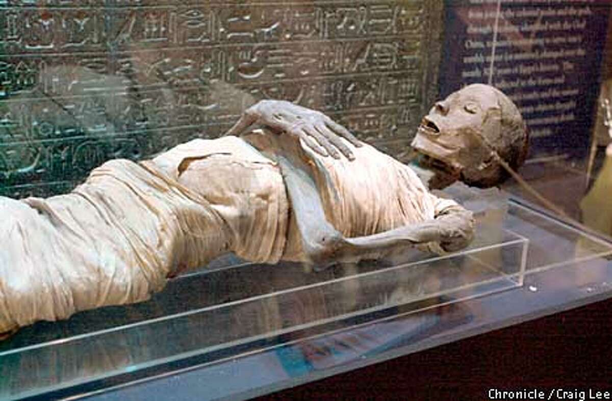 The Rosicrucian Egyptian Museum in San Jose, California. Photo of the actual Mummy of the Priest Usermontu, 1307 - 1070 B.C. Photo by Craig Lee/San Francisco Chronicle
