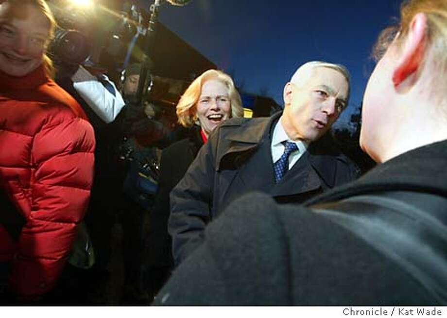 CLARK_0532_KW.jpg  Democratic Presidential candidate General Wesley K. Clark and his wife Gert Clark braved the cold to shake hands and talk to University of New Hampshire students as they wait in line to buy school books at the Durham Book Exchange in Portsmouth on 1/21/04. Kat Wade / The Chronicle Photo: Kat Wade