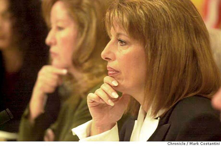 prisons_0188.JPG Photo taken on 1/20/04 in Sacramento.  Committee co-chiars(from left) State Senators Gloria Romero and Jackie Speier listen to testimony.  The Senate Select Committee on Government Oversight and the California Correctional System holds a hearing on the state's troubled prison system and wether it can be trusted to police it self. This comes after a court-appointed monitor found the former chief of prison and a top deputy should be held in contempt for thwarting an investigation into prison guard misconduct and then lied to federal investigators who were looking into the matter.  Key witnesses  CHRONICLE PHOTO BY MARK COSTANTINI MANDATORY CREDIT FOR PHOTOG AND SF CHRONICLE/ -MAGS OUT Photo: MARK COSTANTINI