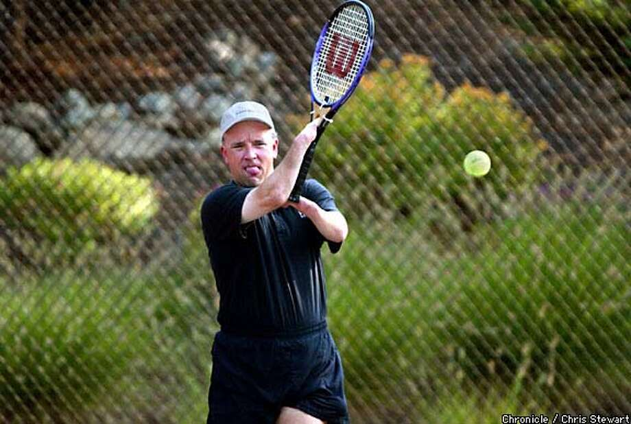 Net worth: Former competitive tennis player Roger Crawford plays tennis with a modified racket in the Granite Bay gated community where he lives with wife Donna and daughter Alexa, 10. Chronicle photo by Chris Stewart