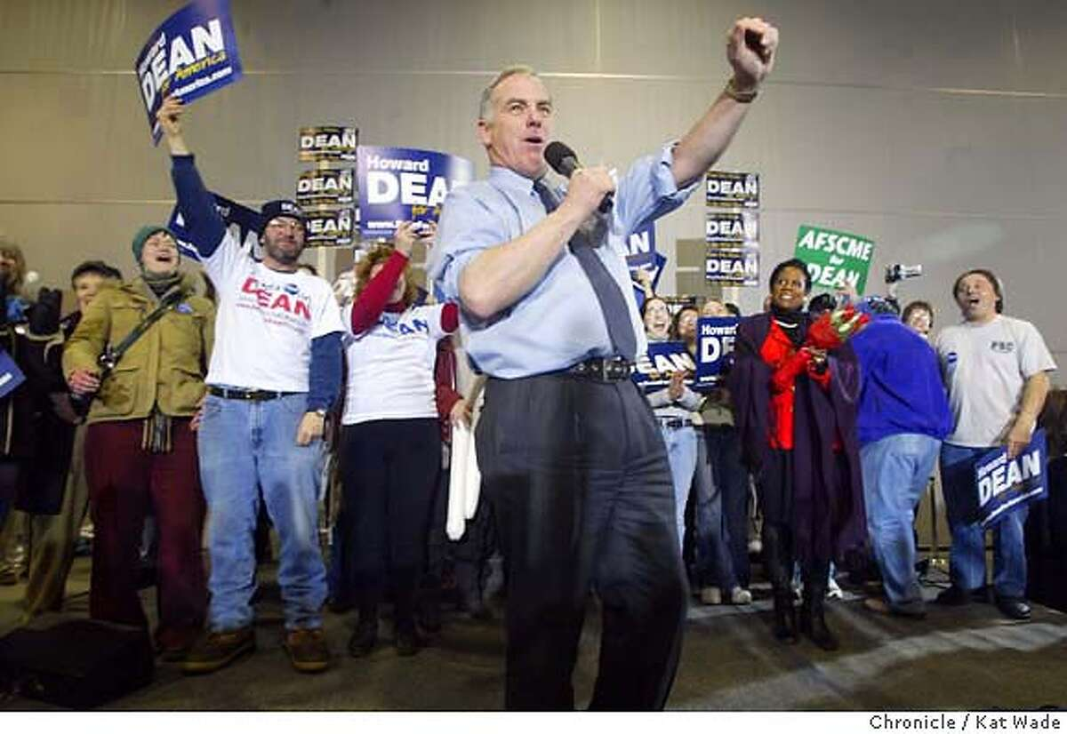 DEAN3AM_0134_KW.jpg Howard Dean raises his fist to express his excitement at the five hundred enthusiastic supporters who gathered in 5 degree temperatures to greet their candidate at the Portsmouth, New Hampshire on 1/20/04 at even though he came in a disappointing third in Monday's Iowa Caucuses . Kat Wade / The Chronicle