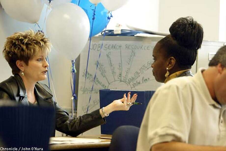 Express to Employment Center, 1570 Mission St. San francisco. CONTACT:Maureen Davidson 760-1514.  Albertson interviewer, Shelly Gegenheimer 'cq.' interviews Angela Johnson of San Francisco. Angela made the interview and was awared a position with Albertson.  Photo/John O'Hara Photo: John O'Hara