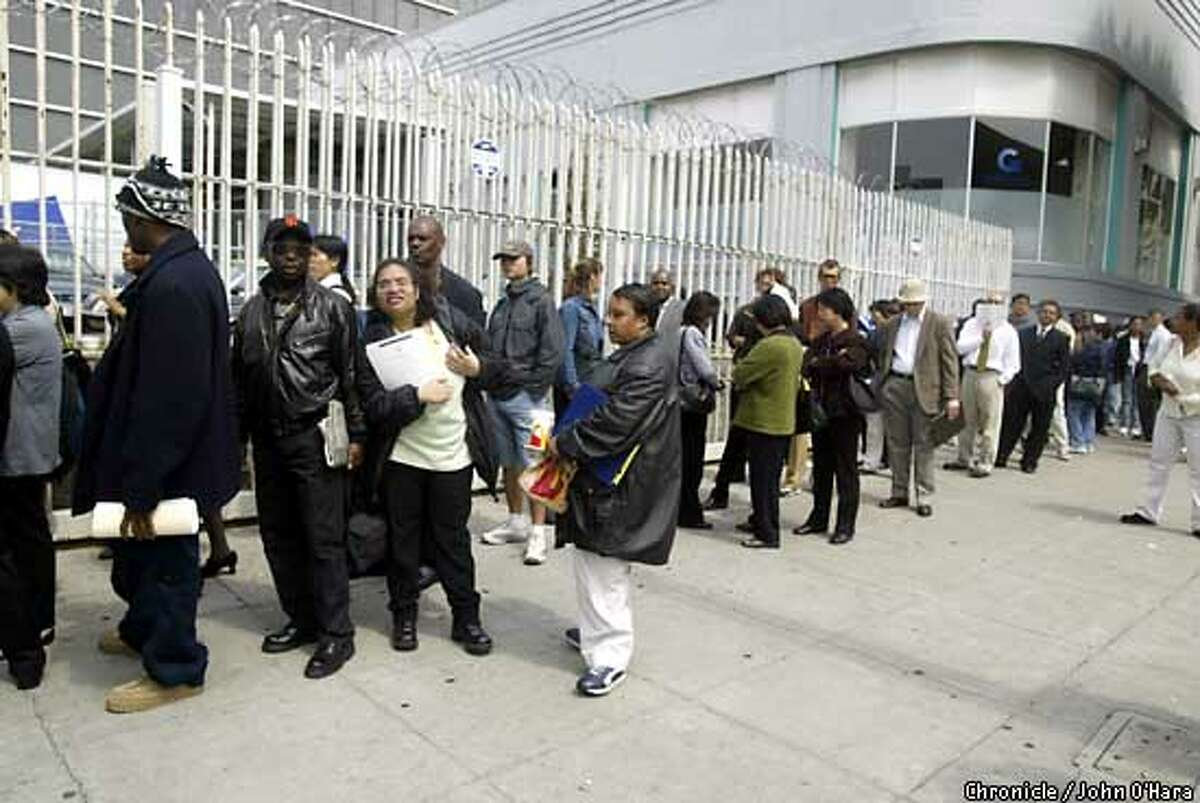 Express to Employment Center, 1570 Mission St. San francisco. CONTACT:Maureen Davidson 760-1514. Washington Kendricks (in Giants cap) in a long line that was 3 to 5 people wide and went down the Block and around the corner Photo/John O'Hara