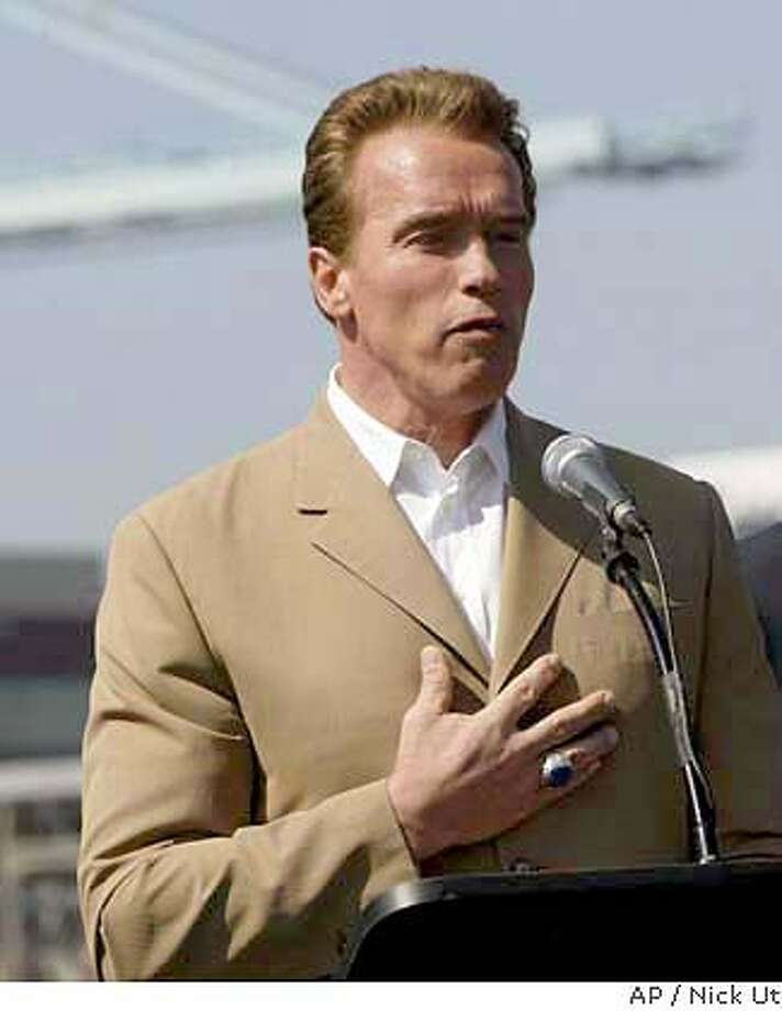 California Gov. Arnold Schwarzenegger, speaks during a news conference in Long Beach, Calif., Thursday, March 11, 2004. Schwarzenegger, who calls himself California's ``job czar,'' announces formation of a commission of business, labor and state officials who will attempt to lure companies to the economically struggling state and keep those here from fleeing. The announcement comes at a time when the governor is trying to resolve the costly workers' compensation crisis and plug a massive budget hole. (AP Photo/Nick Ut) Photo caption Gov. Arnold Schwarzenegger announces formation of a state jobs commission during a news conference Wednesday in Long Beach. Photo: NICK UT