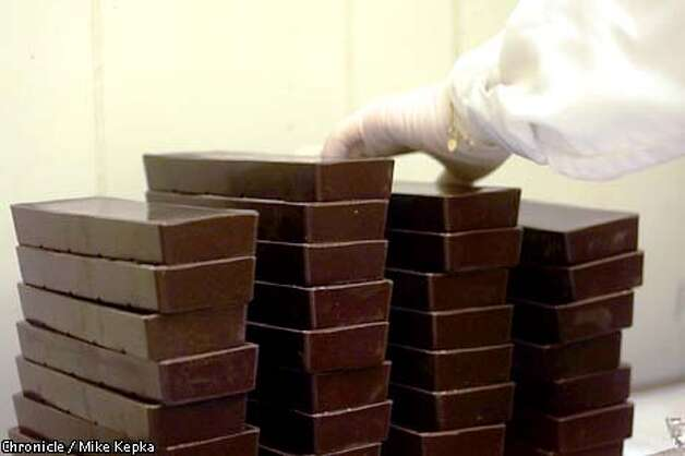 Stacks of Scharffen Berger chocolate wait to be hand wraped at the South San Francisco factory. BY MIKE KEPKA/THE CHRONICLE Photo: MIKE KEPKA