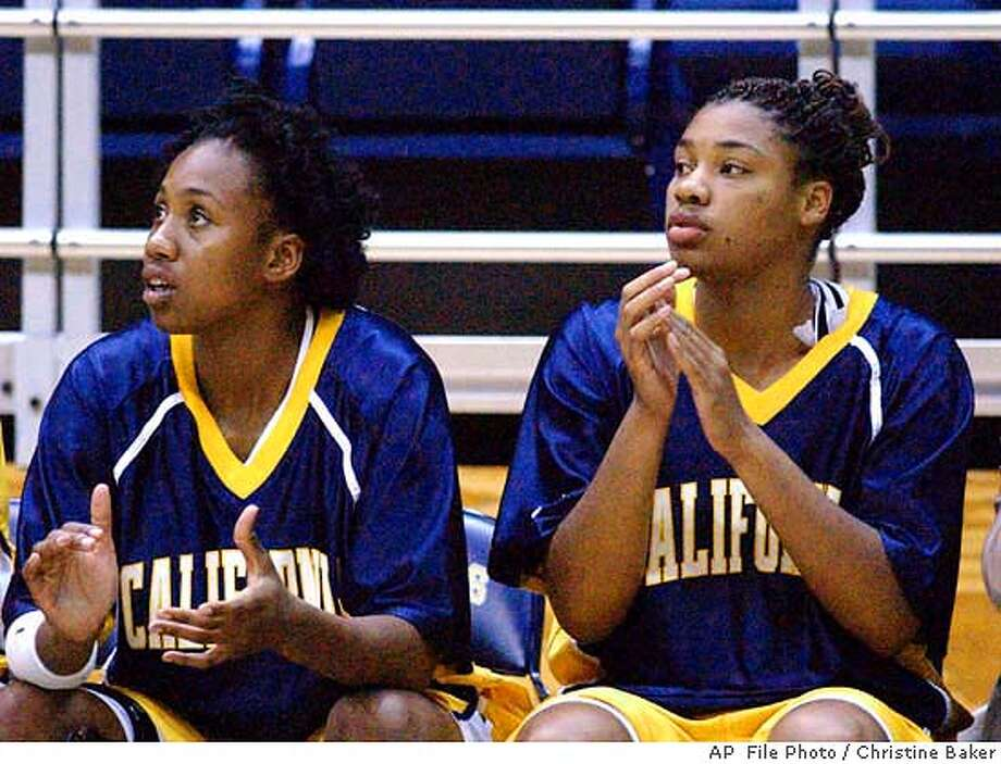 ** FILE ** California's Alisa Lewis, right, watches the game against San Jose State from the bench with an unidentified player Tuesday, Nov. 25, 2003, in Berkeley, Calif. Lewis, a junior from Spokane, Wash., died Monday, Jan. 19, 2004, after apparently contracting bacterial meningitis. (AP Photo/The Daily Republic, Christine Baker) NOV. 25, 2003 PHOTO Photo: CHRISTINE BAKER