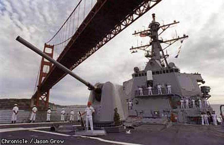 HOPPER1/C/30AUG97/MN/JG The USS Hopper entered the San Francisco Bay Saturday in advance of her commissioning next week. The Hopper is named after Rear Admiral Grace Murray Hopper. CHRONICLE PHOTO BY JASON M. GROW