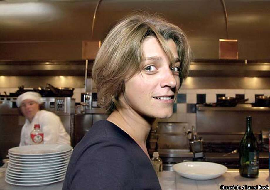 Director Sandra Nettelbeck visits the kitchen at Postrio. She studied filmmaking in San Francisco. Chronicle photo by Darryl Bush