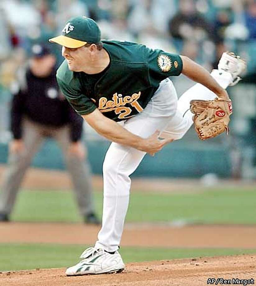 Oakland Athletics' Cory Lidle pitches against the Chicago White Sox in the first inning Friday, Aug. 16, 2002, in Oakland, Calif. (AP Photo/Ben Margot) Photo: BEN MARGOT