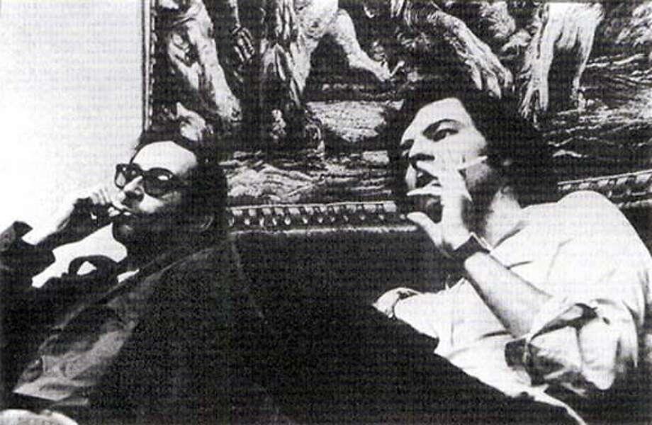 "Godard and Jean-Pierre Gorin in Palestine for the shooting of ""Jusqua la Victoire."""