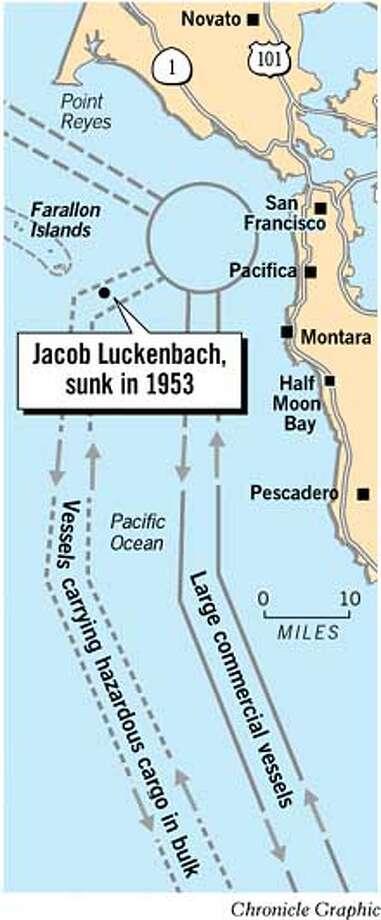 Jacob Luckenbach, Sunk in 1953. Chronicle Graphic Photo: Joe Shoulak