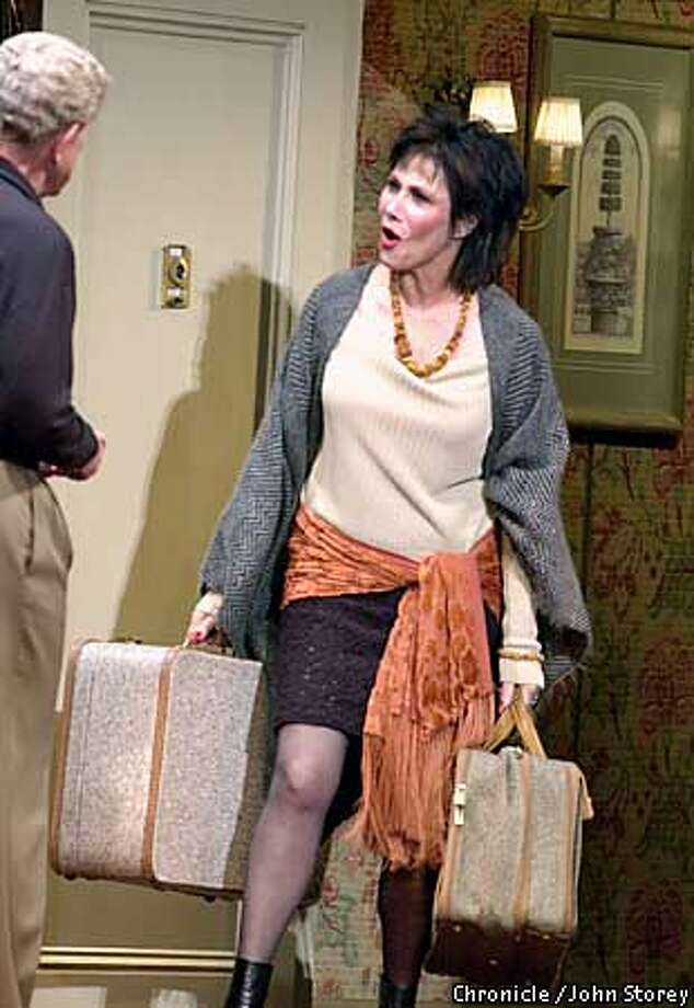 "WIFE16-C-13AUG02-DD-JRS-The play ""The Allergist's Wife at the Curran Theater. Michele Lee as Lee talks with Tony Roberts playing Ira. Chronicle Photo by John Storey."