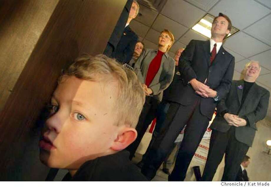 CANDIDATES_0010_KW.jpg  (L to R) Matthew Jameson, 5, was one of many Iowa children who attended the attended Senator John Edwards hotel rally on 1/15/04 in Des Moines. Kat Wade / The Chronicle MANDATORY CREDIT FOR PHOTOG AND SF CHRONICLE/ -MAGS OUT Photo: Kat Wade