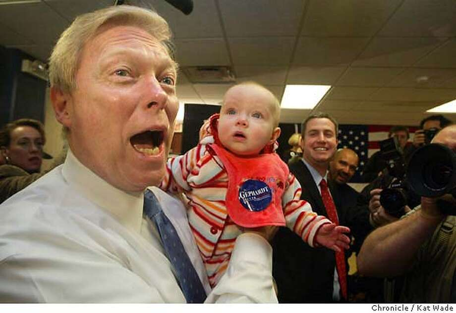 CANDIDATE_0018_KW.jpg  (L to R) Rep. Dick Gephardt kisses up to Megan Klabunde, 7 mos., after a rally at the Gates Memorial Hall on 1/14/04 in Nevada. Kat Wade / The Chronicle MANDATORY CREDIT FOR PHOTOG AND SF CHRONICLE/ -MAGS OUT Photo: Kat Wade