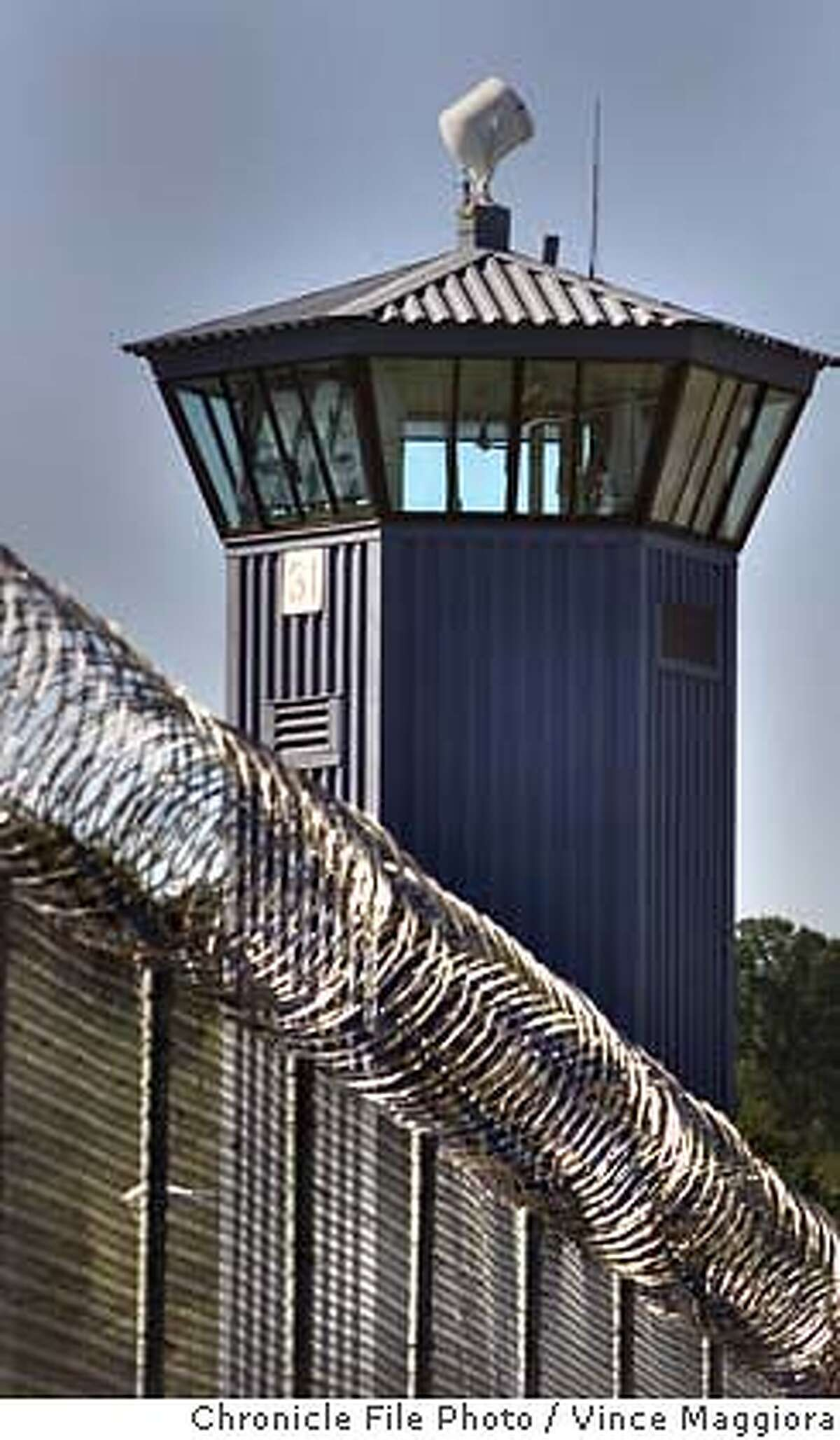 PRISON 4-C-19OCT00-NB-VM One of the guard towers and double fence at the Folsom Prison by Vince Maggiora