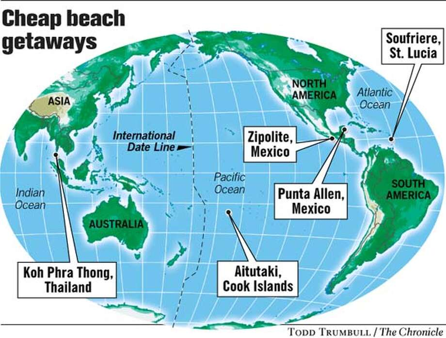 Cheap Beach Getaways. Chronicle graphic by Todd Trumbull Photo: Todd Trumbull