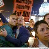 Z Roa (cq), left, and Brad Luke, right, listen to proponents of Same-Sex Marriage at the California State Supreme Court Building in San Francisco, Ca., on Thursday, March 11, 2004, after the court ordered the immediate cessation of gay marriages until the case is heard in May or June. In the lower right corner is Jenna Smith of San Francisco, Ca., who was married to her spouse a month ago when the city began issuing marriage licenses to sam-sex partners. Photo taken on 03/11/04, in San Francisco, Ca. Photo by Carlos Avila Gonzalez/The San Francisco Chronicle
