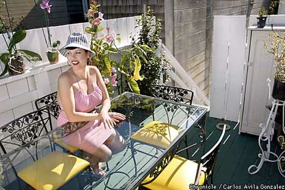 Lavay Smith on her patio. Chronicle photo by Carlos Avila Gonzalez