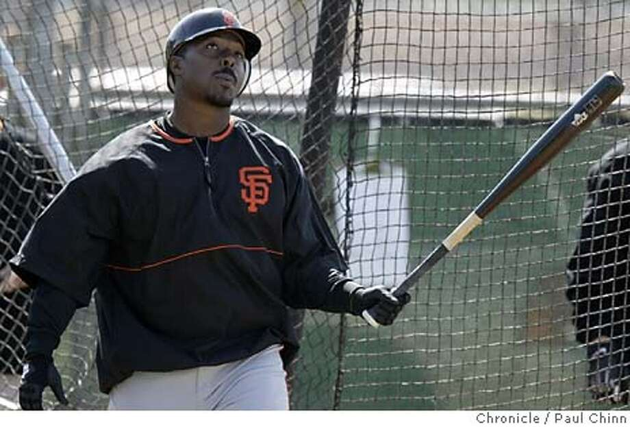 giants26_339_pc.JPG Jeffrey Hammonds watches the ball fly towards right field during batting practice. The San Francisco Giants held its first full-squad workout on 2/25/04 in Scottsdale, AZ. PAUL CHINN / The Chronicle Jeffrey Hammonds will be out 4-6 weeks after being hit by a pitch while playing his former team. ProductNameChronicle Photo: PAUL CHINN
