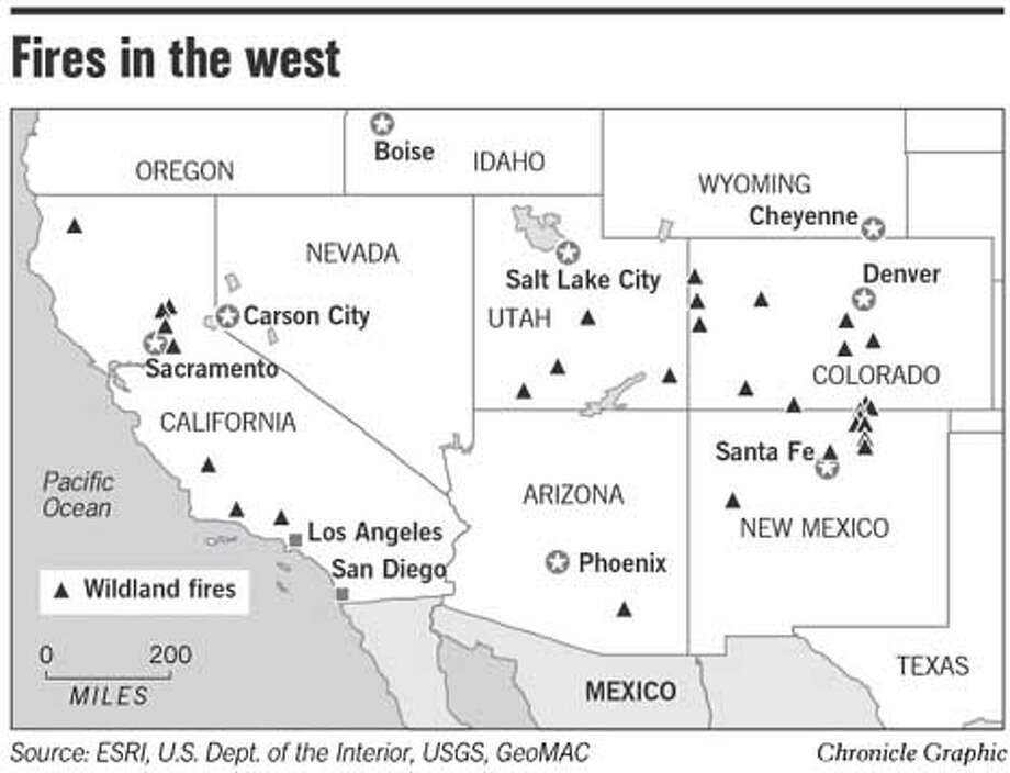 Fires in the West. Chronicle Graphic