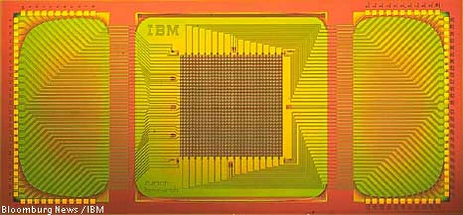 A diagram for the millipede chip, a prototype silicon-based chip for data storage that will hold 20 times more information per square inch than today's magnetic hard-disk drives, which IBM scientists hope to have a fully functioning prototype of by early next year. The chip's size is 7 mm by 14 mm. Source: IBM/Via Bloomberg News.