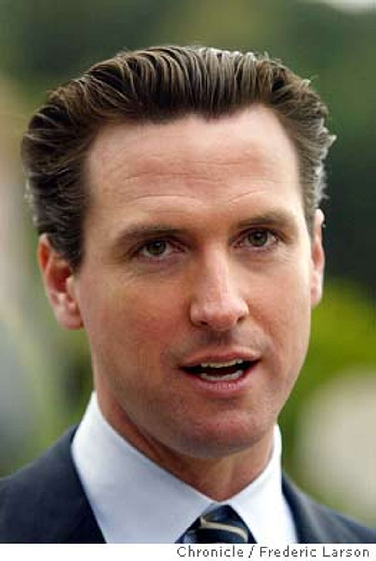 ; Gavin Newsom (candidate for SF mayor) after voting in the mayoral runoff election on Green Street near Lyon Street where Newsome is hopeful in winning over Matt Gonzalez. The Chronicle;