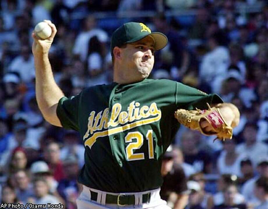 Oakland Athletics pitcher Cory Lidle throws in the first inning against New York Yankees Saturday, Aug. 10, 2002 at Yankee Stadium in New York(AP Photo/Osamu Honda) Photo: OSAMU HONDA