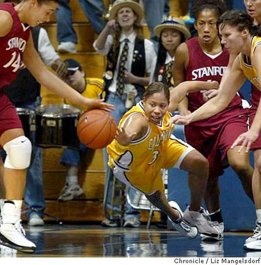 California women's basketball player #33 LaTasha O'Keith dives for the ball as stanford's Nicole Powell, #14 left, goes after it. Stanford and Cal play at Berkeley in Women's basketball.  Liz Mangelsdorf/ The Chronicle Photo: LIZ MANGELSDORF