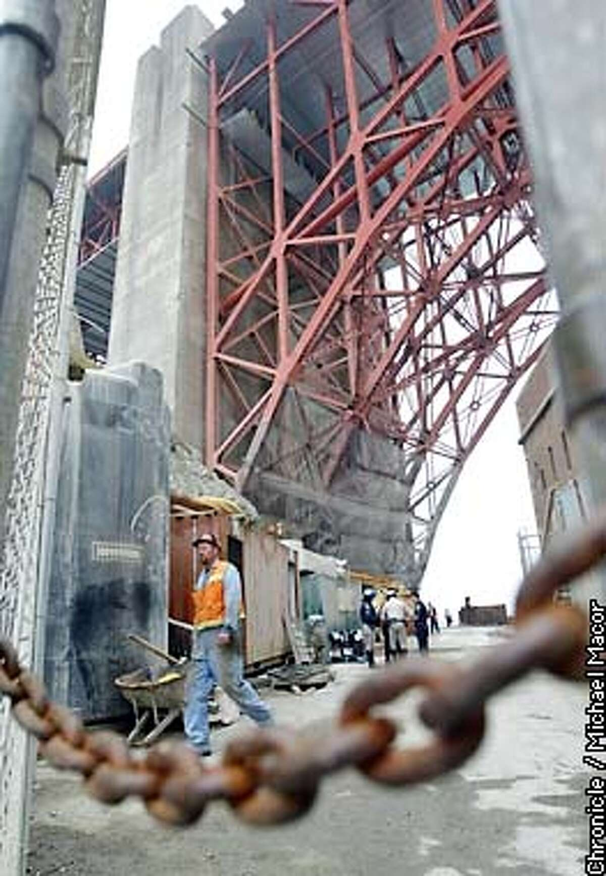 The site of the accident, where a worker fell inside the concrete supprt toweer in the background.A construction was killed during retrofit work on the Golden Gate Bridge. by Michael Macor/The Chronicle