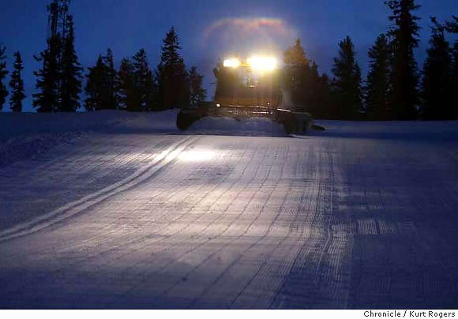 Matt Yarbrough's cat makes a pass down West Ridge. Corduroy is what they call the the surface of the snow after a Groomer processes it North Star's snow making and and Grooming behind the seen. Event on 1/14/04 in Lake Tahoe. KURT ROGERS / The Chronicle Photo: KURT ROGERS