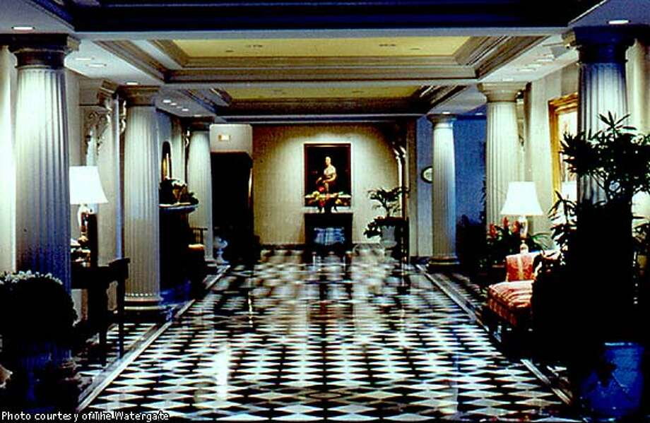 Marble and art define the Watergate's lobby. Photo courtesy of the Watergate
