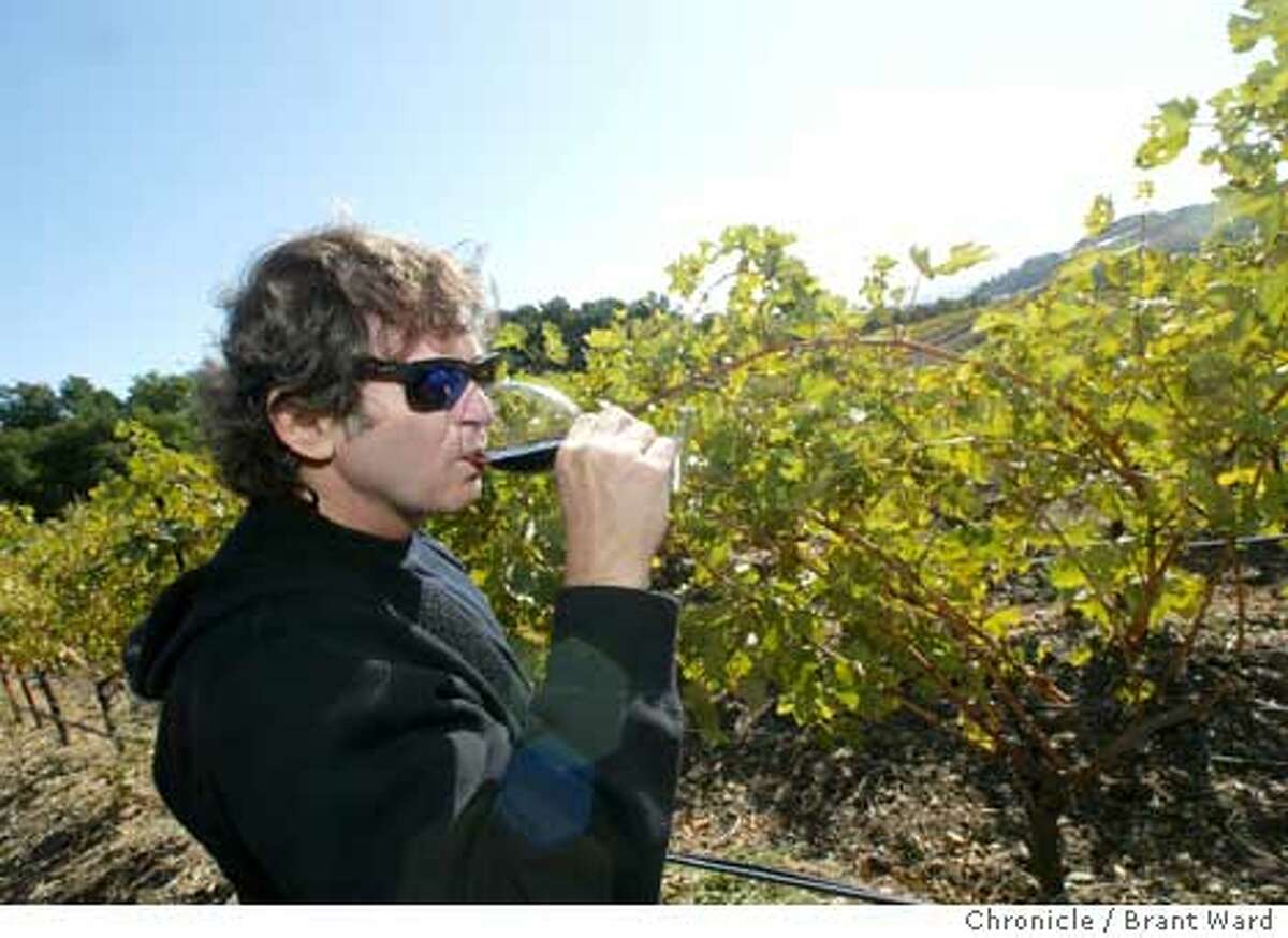 Kamen takes a sip of wine at his vineyard in Sonoma. Chronicle photo by Brant Ward