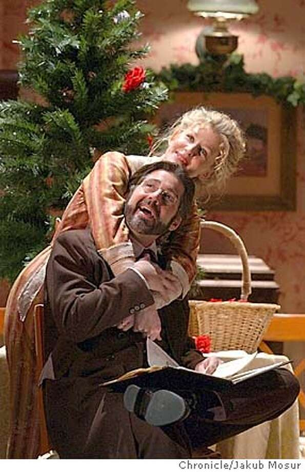 Ren� Augesen, playing Nora Helmer, and Stephen Caffrey, playing Torvald Helmer, perform together during a dress rehersal of Henrik Ibsen's a Doll's House at the A.C.T. Geary Theater in San Francisco on Thursday, Jan. 8, 2004. Event on 1/8/04 in San Francisco. JAKUB MOSUR / The Chronicle Photo: JAKUB MOSUR