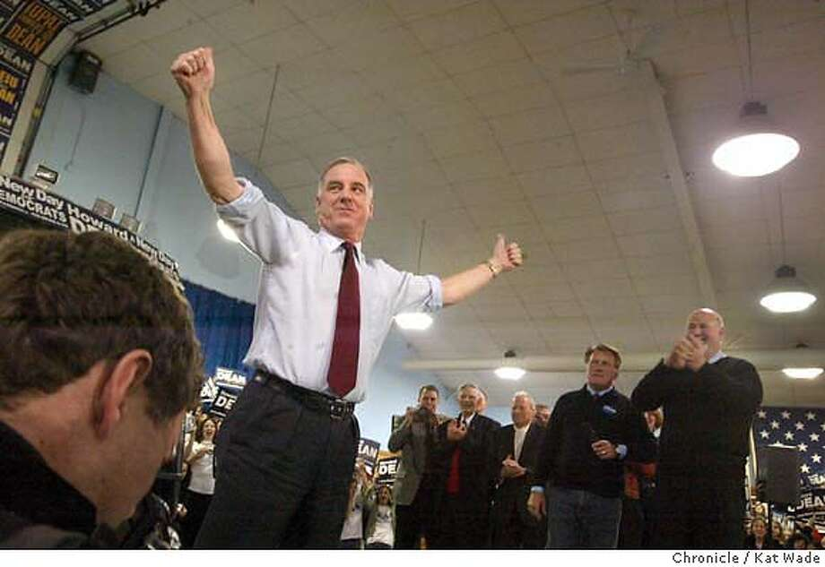 """CAMPAIGN_0006_KW.jpg  Former Vermont Governor Howard Dean greets hundreds of supporters and """"Deaniac"""" volunteers with endorsers actor Martin Sheen and director Rob Reiner at his side as he kicks off his """"People Powered state bus tour"""" with a flashy entrance to a rally at the Iowa State Faire in crucial Iowa on 1/14/04 in Des Moines. Kat Wade / The Chronicle Dick Gephardt shakes hands with a supporter in Nevada, Iowa. Photo: Kat Wade"""