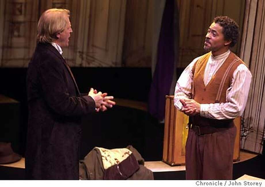 "� Dr. Faustus( Left) played by David Rasche talks with Magus, played by Dominic Hoffman.  Preview performance of ""Dr Faustus,"" new David Mamet play at the Magic Theatre. John Storey/The Chronicle Photo: John Storey"