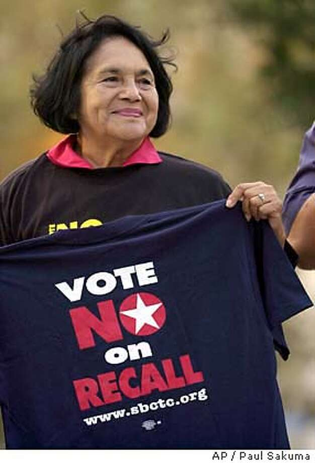 Dolores , co-founder of the United Farm Workers Union, holds up a shirt during a rally in downtown San Jose, Calif., Friday, Oct. 3, 2003. The rally was against the recall election and against state proposition 54. (AP Photo/Paul Sakuma) Photo: PAUL SAKUMA