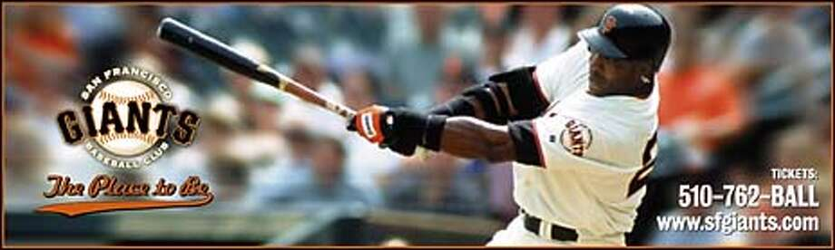 """""""The Place to Be"""" baseball marketing, barry bonds on 3/8/04 in San Francisco. / HO"""