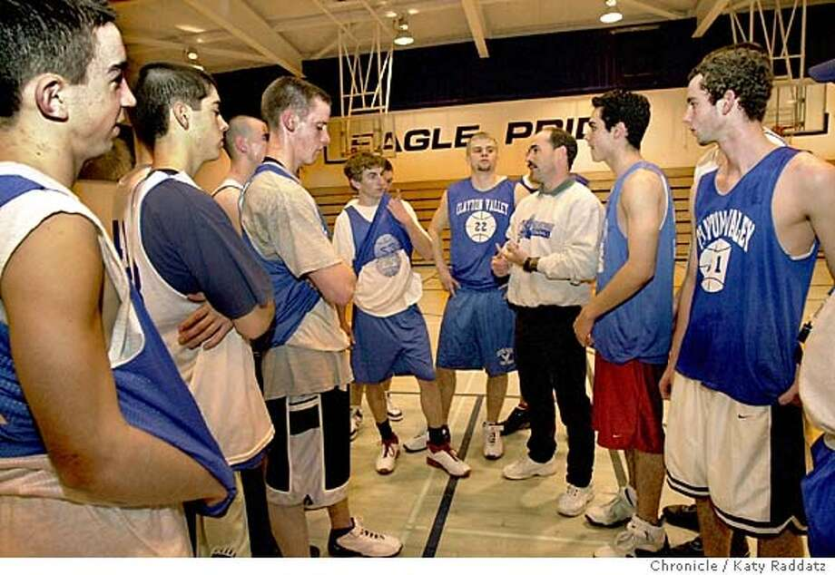 Clayton Valley boys basketball team is off to a 10-2 start. SHOWN: Coach Troy Sullivan talks to his team at practice on Thursday 1/8/04. Katy Raddatz / The Chronicle Photo: Katy Raddatz