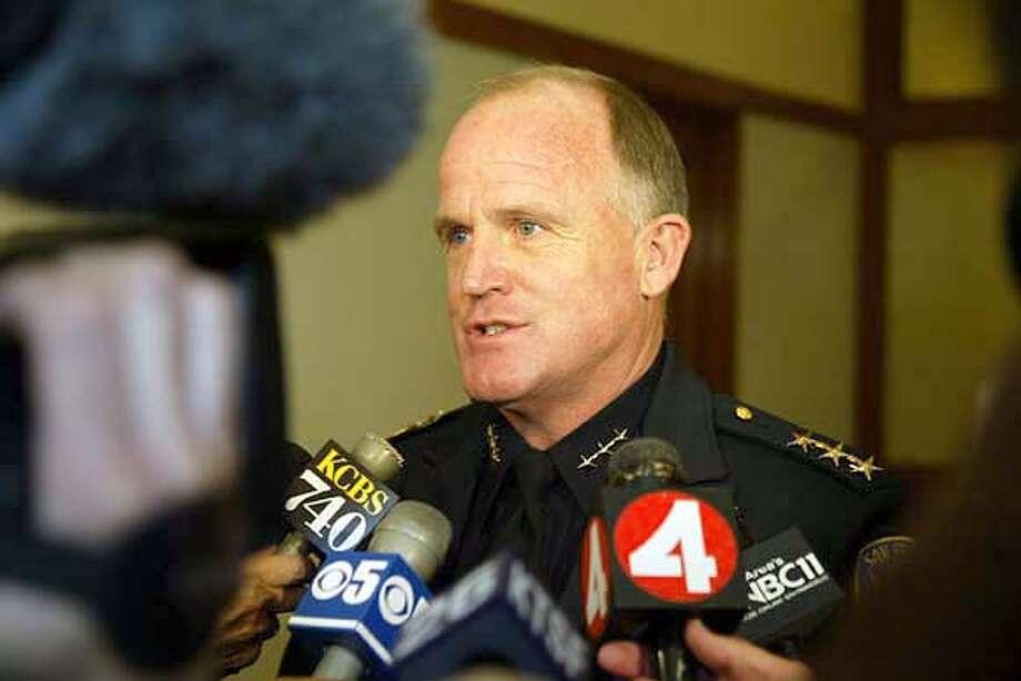 SF POLICE CHIEF ALEX FAGAN SR. ALSO RAN 07/04/03 08/12/03 12/12/03 San Francisco Police Chief Alex Fagan won't keep his job under incoming Mayor Gavin Newsom. San Francisco Police Chief Alex Fagan won't keep his job under incoming Mayor Gavin Newsom. CAT deadline photos Nation#MainNews#Chronicle#12/15/2003#burr, 8437#3star##0421230897 Nation#MainNews#Chronicle#12/15/2003#ALL#3star##0421230897  ALSO RAN 12/15/2003 CAT Nation#MainNews#Chronicle#12/15/2003#ALL#3star##0421230897