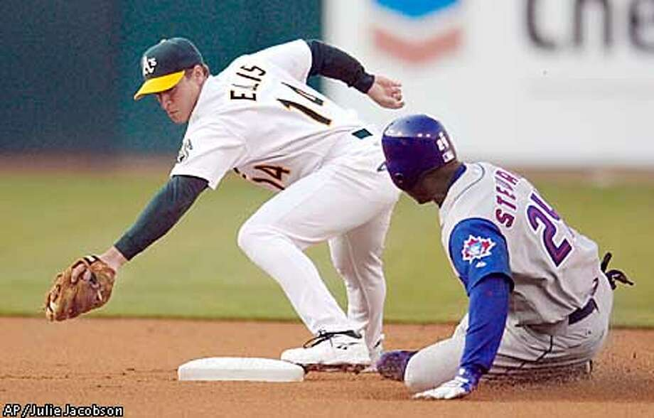 Oakland Athletics second baseman Mark Ellis, left, reaches to put the tag on Toronto Blue Jays' Shannon Stewart who tried to stretch a single into a double during the first inning Monday, Aug. 12, 2002, in Oakland, Calif. Stewart was out on the play. (AP Photo/Julie Jacobson) Photo: JULIE JACOBSON