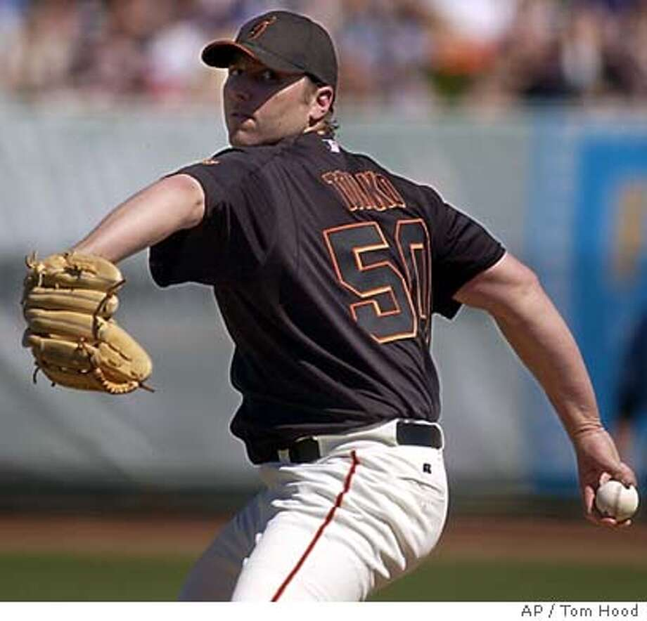 San Francisco Giants starting pitcher Brett Tomko delivers in the first inning against the Chicago Cubs Sunday, March 7, 2004 in Scottsdale, Ariz. (AP Photo/Tom Hood) Photo: TOM HOOD