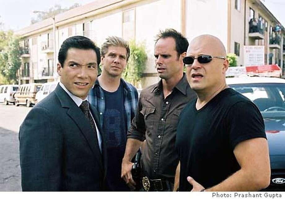 "GOODMAN08  Benito Martinez, Kenneth Johnson, Walton Goggins, Michael Chiklis in ""The Shield."""