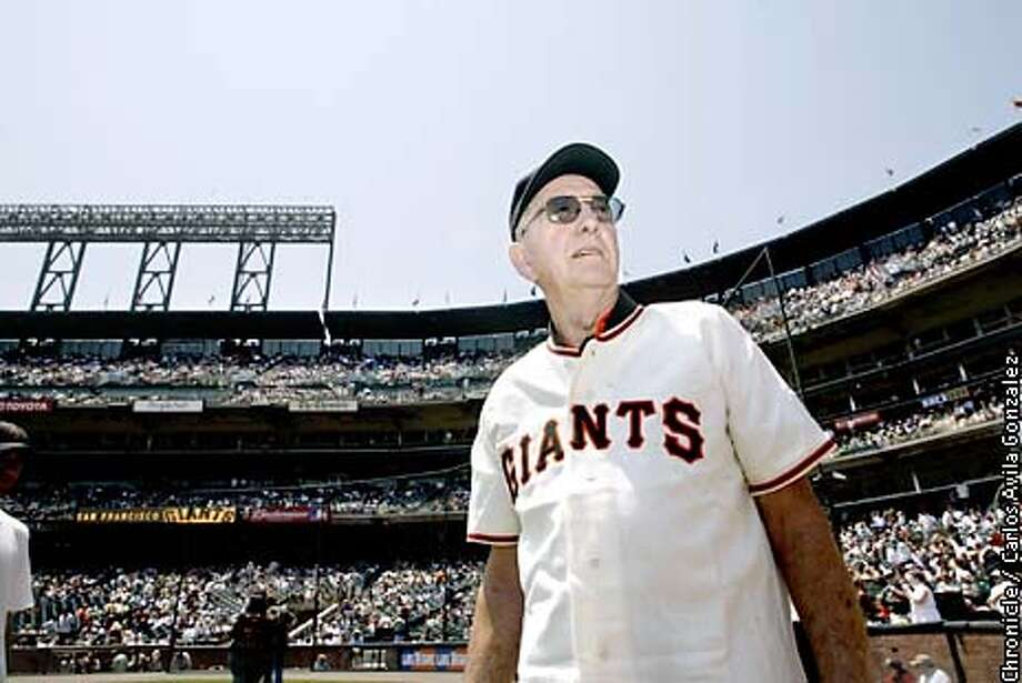 Former San Francisco Giants pitcher, Larry Jansen, who was a part of the 1951 New York Giants championship team. He is seen here following a ceremony honoring the team that won the title at Pacific Bell Park on Sunday, July 28, 2002.  (BY CARLOS AVILA GONZALEZ/THE SAN FRANCISCO CHRONICLE) Photo: CARLOS AVILA GONZALEZ