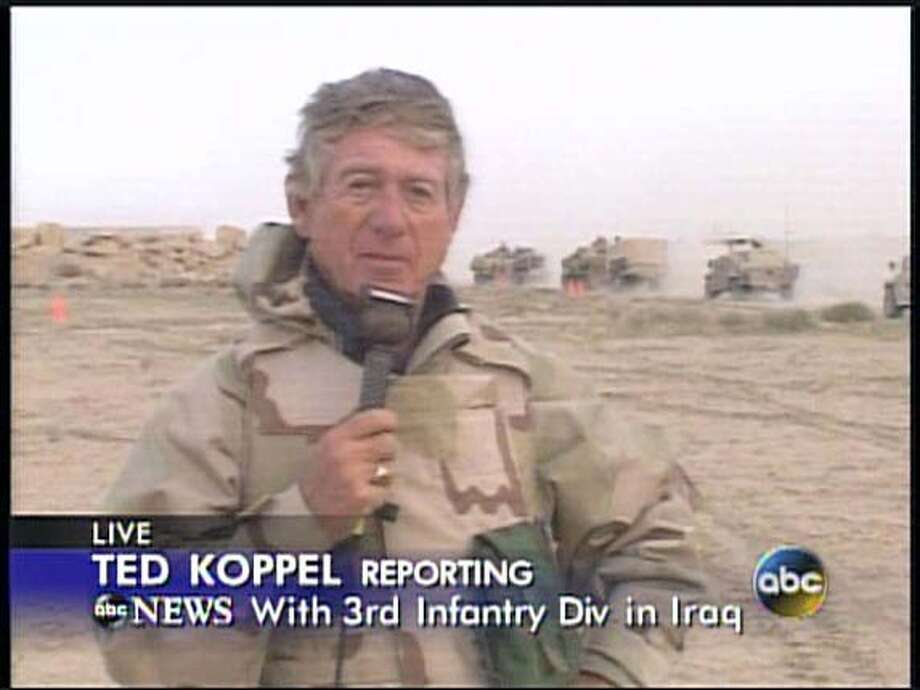 Ted Koppel reporting as the third infantry division crossed the Iraqi border.  Handout:�  Credit : ABC News Photo: HO