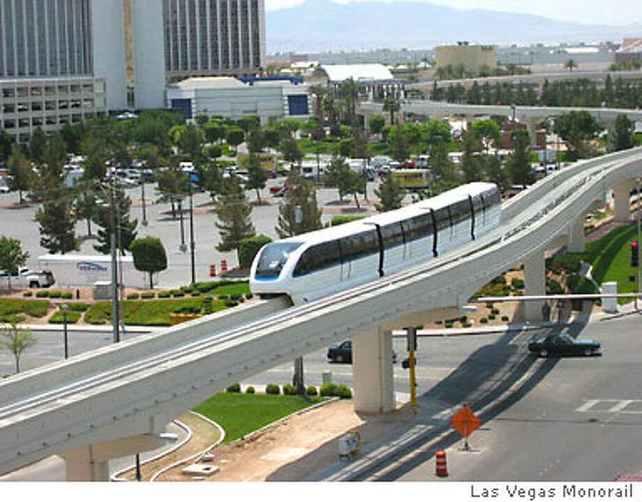 Las Vegas' monorail system, seen on a test run, is expected to begin service on its initial 4-mile route by the end of the month. Photo courtesy of Las Vegas Monorail