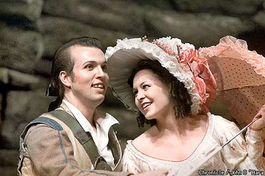 "Yerba Buena Center for the Arts.  ""Pirates of Penzance"" by the Lamplighters. This is the Lamplighters 50th year.  Directed by Christopher Walkey, producer, barbara Heroux. Conductor Baker Peeples.  The young lovers Frederick and Meghan, played by Gregory Tittle and Meghan Conway.  Photo/John O'Hara Photo: John O'Hara"