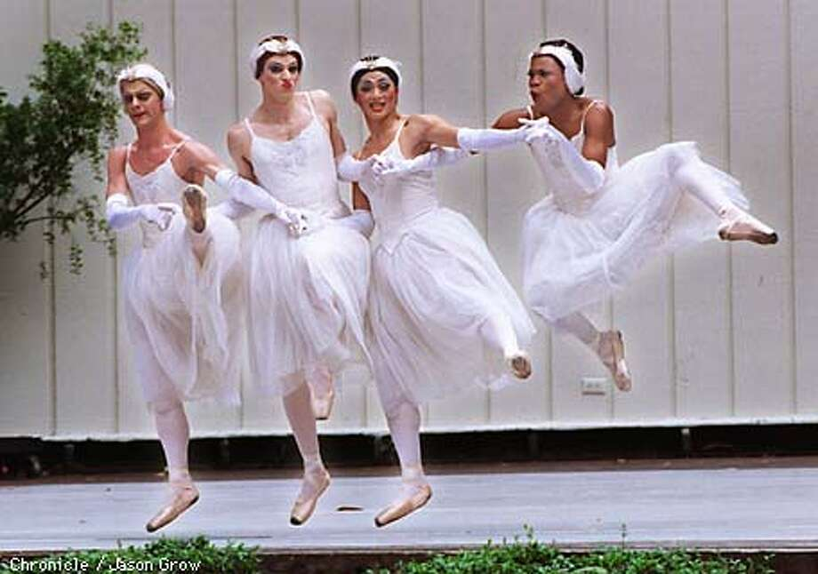 Swans from the ballet corps Les Ballets Trockadero de Monte Carlo, danced Le Lac Des Cygnes (Swan Lake, Act II)on stage at their Stern Grove debut Sunday to the delight of the picnicing crowds.